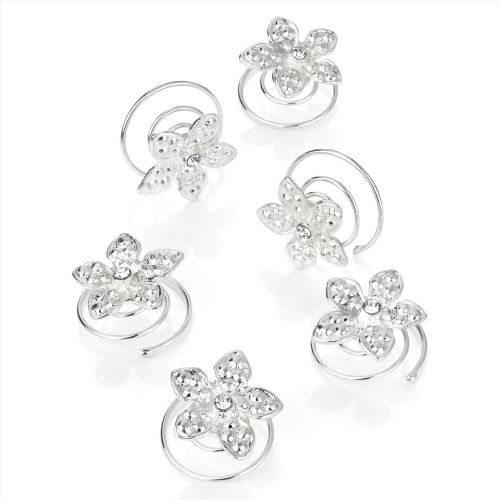 Silver Flower Crystal Centre Hair Jewels Swirl Twist Coils